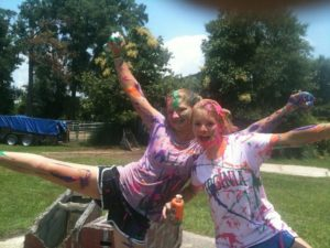 Paint fight! - Laci, friend