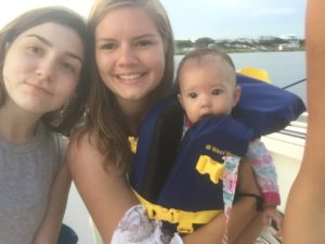 My first daughters first trip to our family's favorite place, orange beach, Alabama. We spent the day on the boat, Brooke held baby Eloise the whole time and we had our favorite happy hour snacks (firecracker shrimp!) at Cobalt Restaurant (July 2016)- Lauren, sister