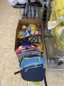 Box full of donated items at J&M Tackle