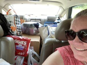 Melissa, our director, all loaded up and ready to head back to Louisiana.